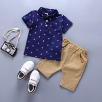 Trendy Anchor Print Polo Shirt and Shorts Set for Toddler Boy