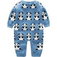 Cute Panda Patterned Long-sleeve Knitted Jumpsuit for Baby Boy
