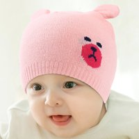 Lovely Bear Design Knitted Hat for Baby