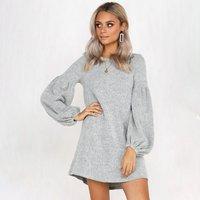 Beautiful Solid Long-sleeve Mini Dress