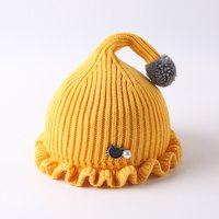 Cute Solid Knitted Pompom Decor Ruffled Hat
