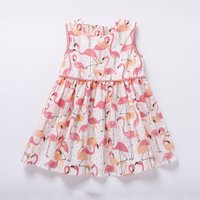 Beautiful Flamingo Patterned Sleeveless Dress for Baby Girl