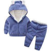 Warm Solid 3D Ear Hooded Fleeced Coat and Pants Set for Baby and Toddler