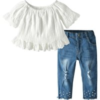 Sassy Solid Short-sleeve Top and Jeans Set for Toddler Girl