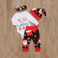 4-piece Comfy Christmas Patterned Romper, Pants , Headband and Hat Set for Baby
