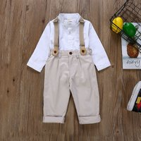 2-piece Handsome Long-sleeve Shirt, Suspender Pants Set for Baby Boy