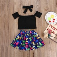 3-piece Sassy Off-shoulder Top, Butterfly Skirt and Headband for Baby and Toddler Girl