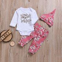 Lovely Letter Print Bodysuit, Floral Pants and Hat Set for Baby Girl