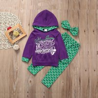 Baby / Toddler Girl Mermaid Hoodie and Scale Pants with Headband