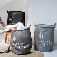 Stylish Letter Print Foldable Linen Laundry Basket