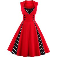 Women Vintage Ruffle Polka Dotted A-line Party Dress