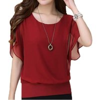 Trendy Solid Batwing Sleeve Chiffon Top for Women