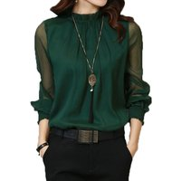 Pretty Solid Tulle Long-sleeve Tee for Women