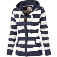 Trendy Striped Hooded Top in Blue for Women