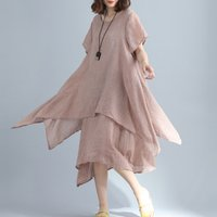 Casual Solid Short Sleeve Dress for Women