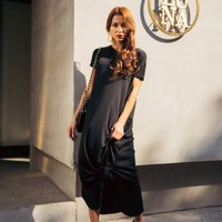 Casual Solid V-neck Short-sleeve Maxi Dress for Women