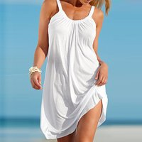 Loose Solid Strap Beach Dress for Women
