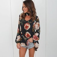 Loose V Neck Floral Long-sleeve Top