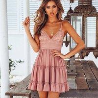 Graceful Lace V Neck Pleated Strap Dress