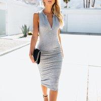 Pretty Fitted V Neck Sleeveless Dress