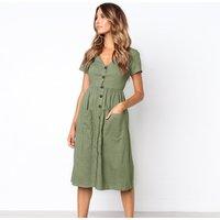 Trendy Pocket V Neck Short-sleeve Dress
