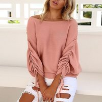 Fashionable Solid Bat Sleeves Knitwear