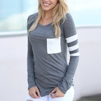 Stylish Pocket Patchwork Long-sleeve Tee