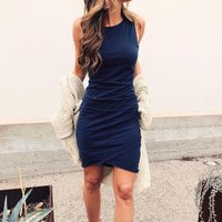 Sassy Solid Ruched Sleeveless Dress
