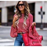 Fashionable Stripe Flare-sleeve Tee