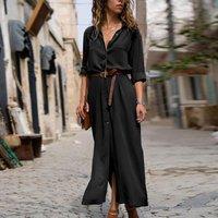 Graceful Slit Long-sleeve Shirt Maxi Dress