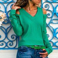Cold Shoulder V Neck Long-sleeve Top
