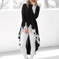 Graceful Lace Asymmetric Long-sleeve Top