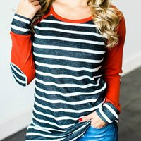 Stylish Patched Stripe Print Long-sleeve Tee
