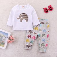 Cute Elephant Print Long-sleeve Top and Pants Set for Baby and Toddler Boy