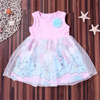 Fancy Unicorn Print Mesh Overlay Sleeveless Dress for Baby Girl