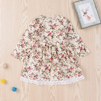 Pretty Floral Lace Trimmed Long-sleeve Dress for Baby and Toddler Girl
