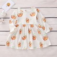 Lovely Sloth Pattern Long-sleeve Dress for Baby Girl