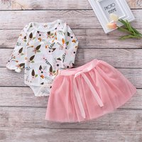 2-piece Fresh Floral Long-sleeve Bodysuit and Pink Tulle Skirt Set