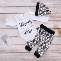 3-piece Casual Letter Print Bodysuit, Triangle Patterned Pants and Hat Set