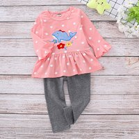 2-piece Cute Whale Applique Dotted Top and Pants Set