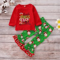Stylish Christmas Patterned Top and Pants Set