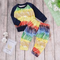 Colorful Striped Long-sleeve Top and Pants Set