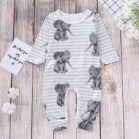 Stylish Elephant Print Striped Long-sleeve Jumpsuit