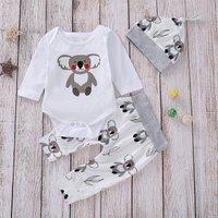 Cute Koala Print Long-sleeve Romper, Pants and Hat Set