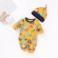 Lovely Animal Patterned Long-sleeve Jumpsuit and Hat Set