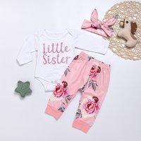 3-piece Pretty LITTLE SISTER Bodysuit, Floral Pants and Headband Set