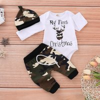 2-piece Cool Camouflage Christmas Deer Pattern Bodysuit, Pants and Hat Set