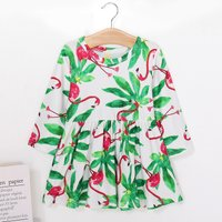 Bright Green Leaf and Flamingo Patterned Long-sleeve Dress