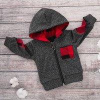 Trendy Plaid Splice Long-sleeve Hoodies for Baby