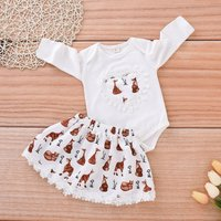 2-piece Cute Heart Embroidery Fox Patterned Lace-trimmed Bodysuit and Skirt Set